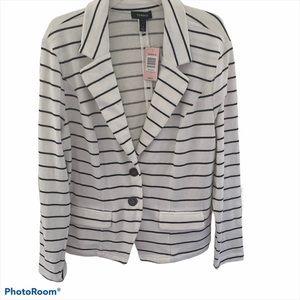 Torrid Black White Striped 2 Button Blazer NWT
